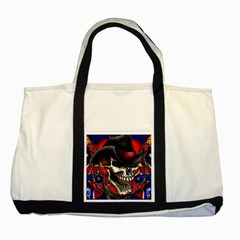 Confederate Flag Usa America United States Csa Civil War Rebel Dixie Military Poster Skull Two Tone Tote Bag