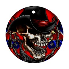 Confederate Flag Usa America United States Csa Civil War Rebel Dixie Military Poster Skull Round Ornament (two Sides)