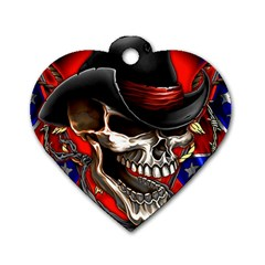 Confederate Flag Usa America United States Csa Civil War Rebel Dixie Military Poster Skull Dog Tag Heart (one Side)
