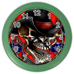 Confederate Flag Usa America United States Csa Civil War Rebel Dixie Military Poster Skull Color Wall Clocks