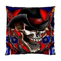 Confederate Flag Usa America United States Csa Civil War Rebel Dixie Military Poster Skull Standard Cushion Case (two Sides)