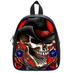 Confederate Flag Usa America United States Csa Civil War Rebel Dixie Military Poster Skull School Bags (small)