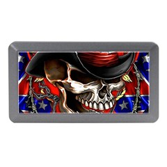 Confederate Flag Usa America United States Csa Civil War Rebel Dixie Military Poster Skull Memory Card Reader (mini)