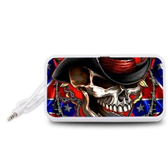 Confederate Flag Usa America United States Csa Civil War Rebel Dixie Military Poster Skull Portable Speaker (white)