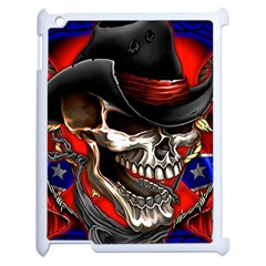 Confederate Flag Usa America United States Csa Civil War Rebel Dixie Military Poster Skull Apple Ipad 2 Case (white)