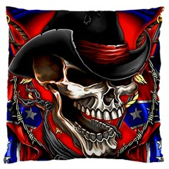 Confederate Flag Usa America United States Csa Civil War Rebel Dixie Military Poster Skull Large Cushion Case (two Sides)