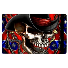 Confederate Flag Usa America United States Csa Civil War Rebel Dixie Military Poster Skull Apple Ipad 2 Flip Case
