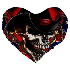 Confederate Flag Usa America United States Csa Civil War Rebel Dixie Military Poster Skull Large 19  Premium Heart Shape Cushions