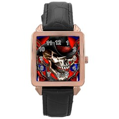 Confederate Flag Usa America United States Csa Civil War Rebel Dixie Military Poster Skull Rose Gold Leather Watch