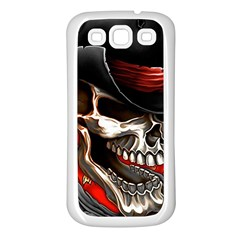 Confederate Flag Usa America United States Csa Civil War Rebel Dixie Military Poster Skull Samsung Galaxy S3 Back Case (white)