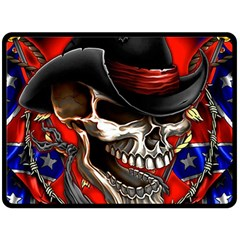 Confederate Flag Usa America United States Csa Civil War Rebel Dixie Military Poster Skull Double Sided Fleece Blanket (large)