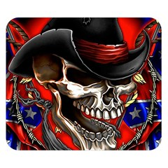 Confederate Flag Usa America United States Csa Civil War Rebel Dixie Military Poster Skull Double Sided Flano Blanket (small)