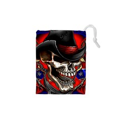 Confederate Flag Usa America United States Csa Civil War Rebel Dixie Military Poster Skull Drawstring Pouches (xs)