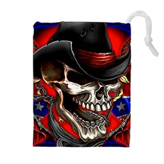 Confederate Flag Usa America United States Csa Civil War Rebel Dixie Military Poster Skull Drawstring Pouches (extra Large)