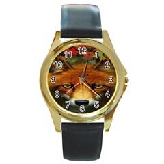 Fox Round Gold Metal Watch