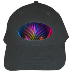 Colored Rays Symmetry Feather Art Black Cap