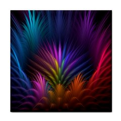 Colored Rays Symmetry Feather Art Tile Coasters