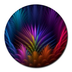 Colored Rays Symmetry Feather Art Round Mousepads