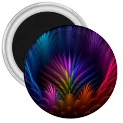Colored Rays Symmetry Feather Art 3  Magnets