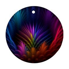 Colored Rays Symmetry Feather Art Ornament (round)