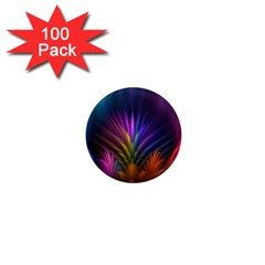 Colored Rays Symmetry Feather Art 1  Mini Magnets (100 Pack)
