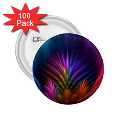 Colored Rays Symmetry Feather Art 2 25  Buttons (100 Pack)