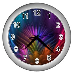 Colored Rays Symmetry Feather Art Wall Clocks (silver)