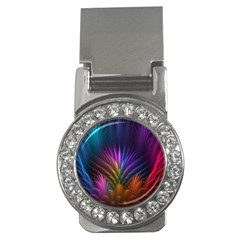 Colored Rays Symmetry Feather Art Money Clips (cz)
