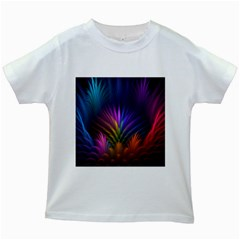 Colored Rays Symmetry Feather Art Kids White T Shirts