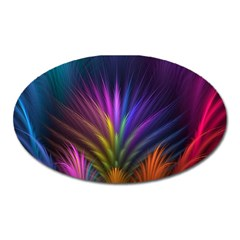 Colored Rays Symmetry Feather Art Oval Magnet