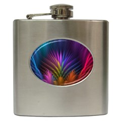 Colored Rays Symmetry Feather Art Hip Flask (6 Oz)