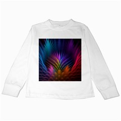 Colored Rays Symmetry Feather Art Kids Long Sleeve T Shirts