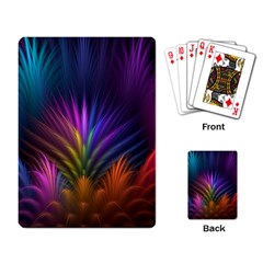 Colored Rays Symmetry Feather Art Playing Card