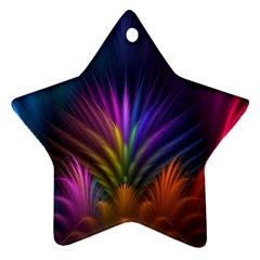 Colored Rays Symmetry Feather Art Star Ornament (two Sides)