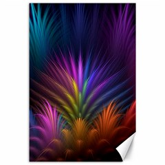 Colored Rays Symmetry Feather Art Canvas 24  X 36