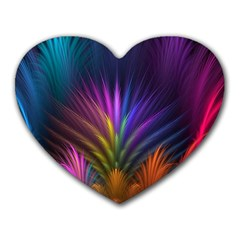 Colored Rays Symmetry Feather Art Heart Mousepads