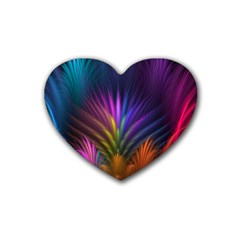 Colored Rays Symmetry Feather Art Heart Coaster (4 Pack)