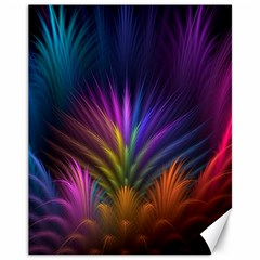 Colored Rays Symmetry Feather Art Canvas 11  X 14