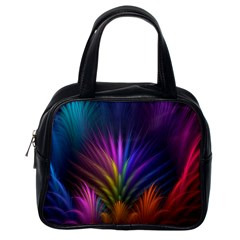 Colored Rays Symmetry Feather Art Classic Handbags (one Side)