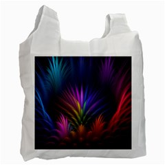 Colored Rays Symmetry Feather Art Recycle Bag (two Side)