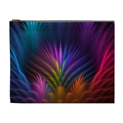 Colored Rays Symmetry Feather Art Cosmetic Bag (xl)