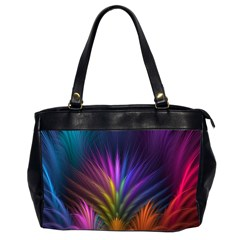 Colored Rays Symmetry Feather Art Office Handbags (2 Sides)