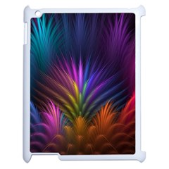 Colored Rays Symmetry Feather Art Apple Ipad 2 Case (white)