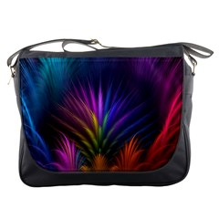 Colored Rays Symmetry Feather Art Messenger Bags