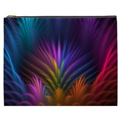 Colored Rays Symmetry Feather Art Cosmetic Bag (xxxl)