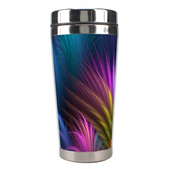 Colored Rays Symmetry Feather Art Stainless Steel Travel Tumblers