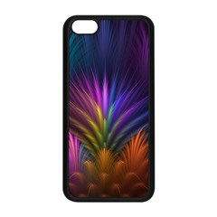 Colored Rays Symmetry Feather Art Apple Iphone 5c Seamless Case (black)