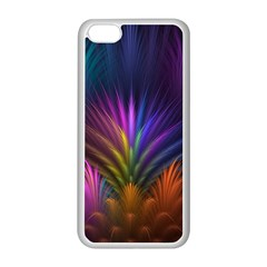 Colored Rays Symmetry Feather Art Apple Iphone 5c Seamless Case (white)