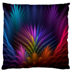 Colored Rays Symmetry Feather Art Large Flano Cushion Case (two Sides)