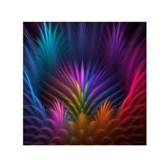 Colored Rays Symmetry Feather Art Small Satin Scarf (square)